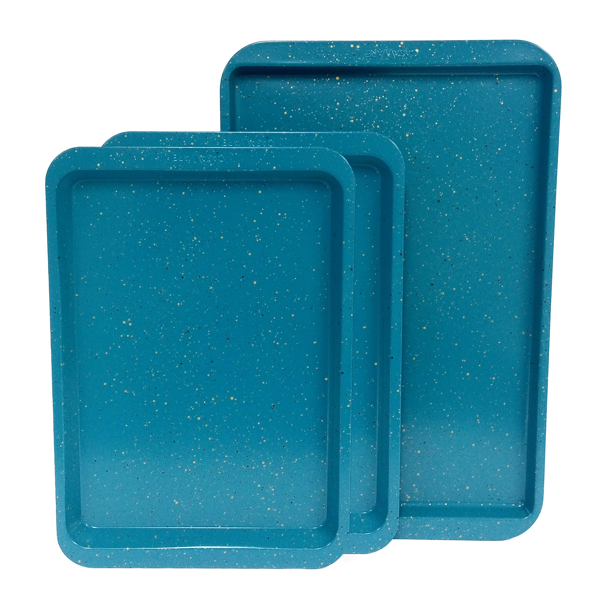 casaWare 3pc Multi-Size Cookie Sheet/Jelly Roll Pan Set (Blue Granite) by casaWare (Image #2)