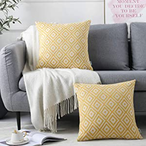 NordECO HOME 18x18 Cushion Covers Modern Throw Pillowcases Boho Geometric Home Decor Pillow Cover(Diamond, Yellow)