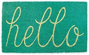 DII CAMZ35974 Hello Coir Doormat, 18 x 30, Aqua