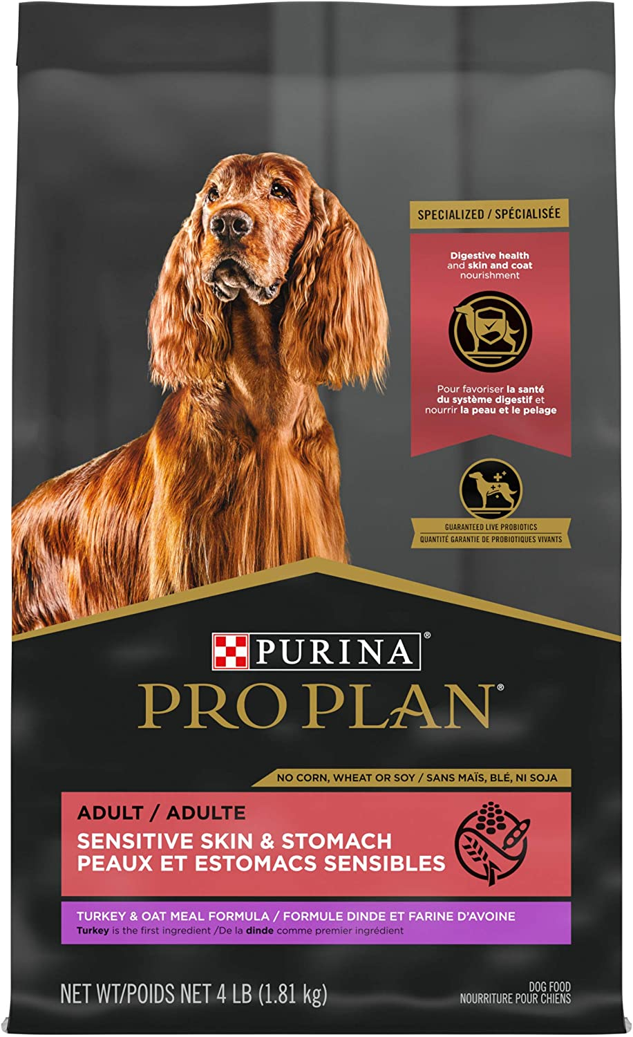 Purina Pro Plan Sensitive Skin and Stomach Dog Food with Probiotics for Dogs, Turkey & Oat Meal Formula - 4 lb. Bag