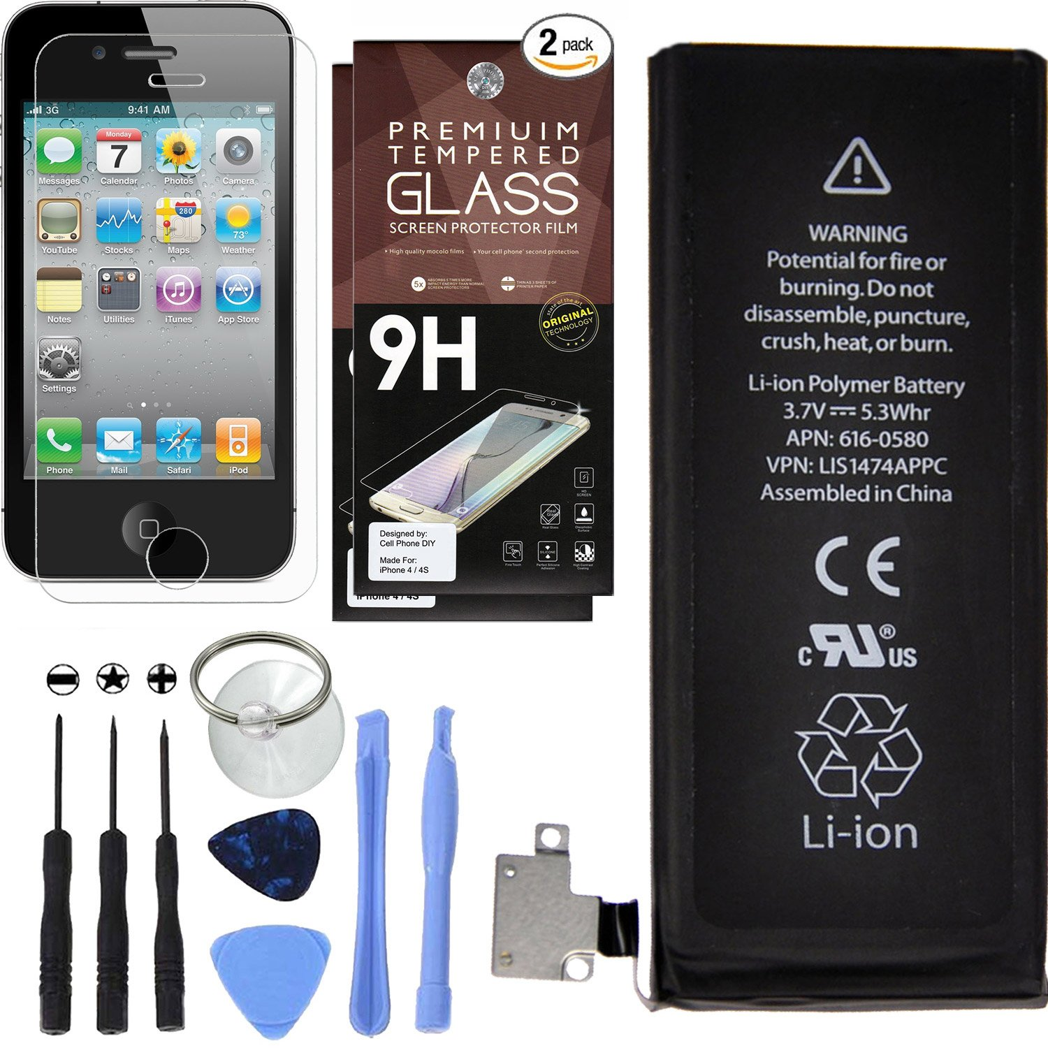 Cell Phone DIY Battery Replacement for Apple iPhone 4S - Complete Repair  Kit – Includes Set of Tools – [Pack of 2] Glass Screen Protectors – 0 Cycle