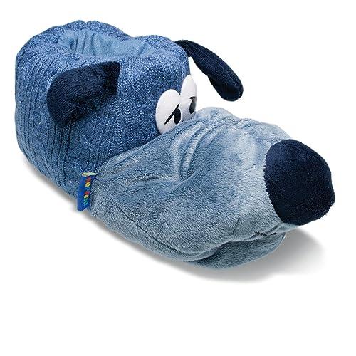 Sams Chaussons Animaux Chien Oreilles Pendantes Bleu Pantoufles drôle  amusantes chaud, huschb - Bleu -