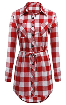 1157d130a1 HOTOUCH Femme Chemise à Carreaux Chemisier Long à Manches Longues  Rouge+Blanc XL