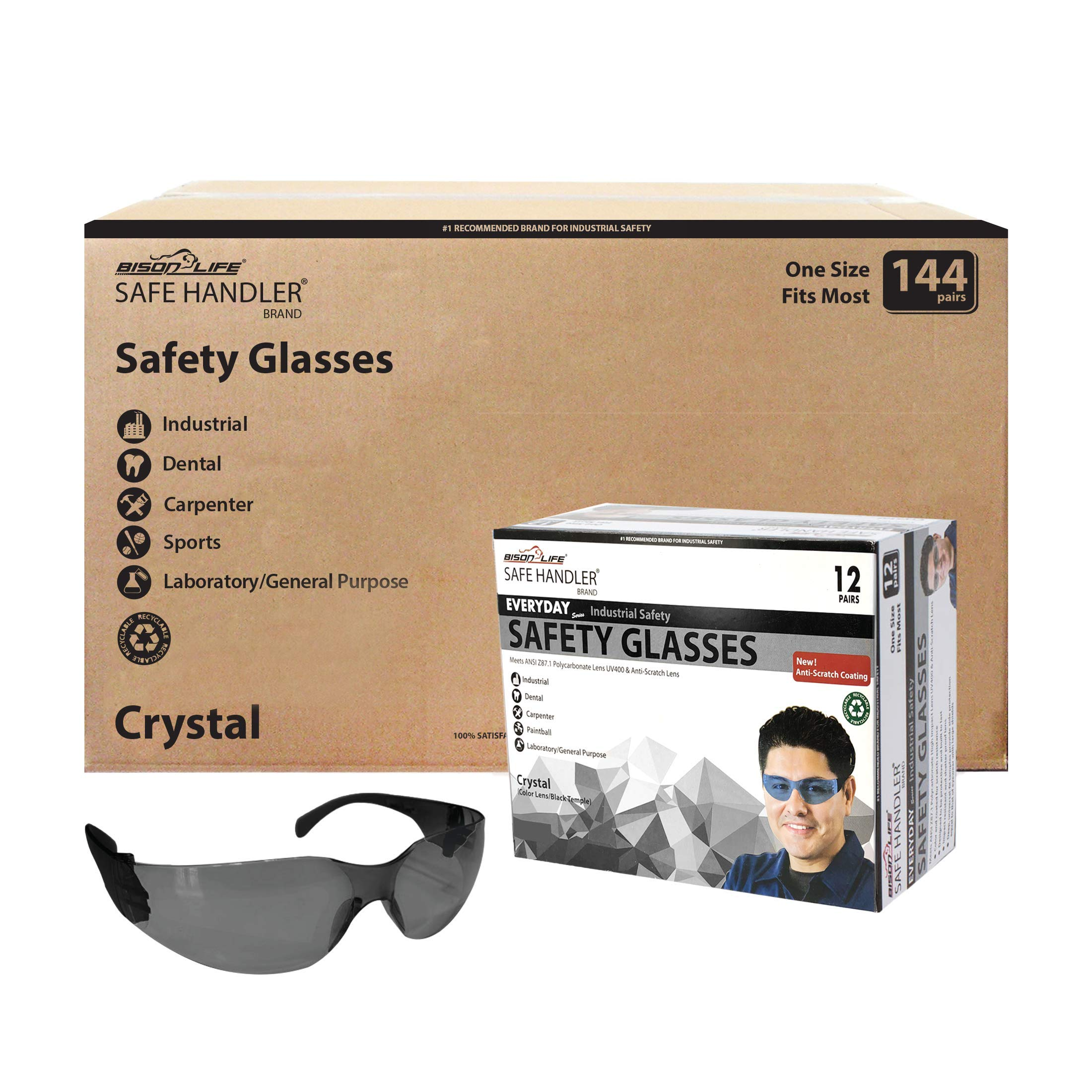 SAFE HANDLER Protective Safety Glasses, Black Polycarbonate Impact and Ballistic Resistant Lens - Black Temple (Case of 12 Boxes, 144 Pairs Total)