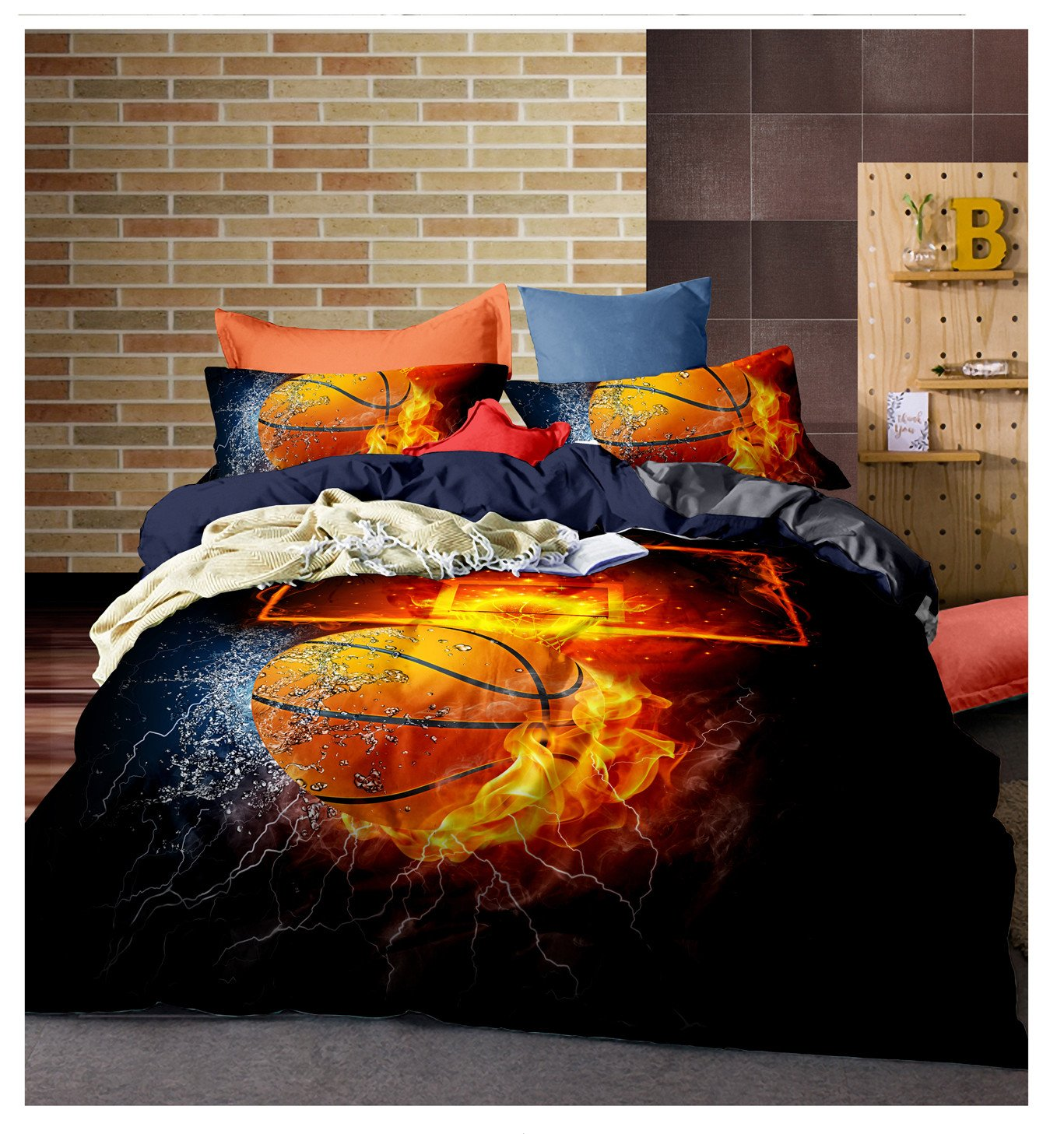 Lldaily 3D Sports Basketball Bedding Set for Teen Boys,Duvet Cover Sets with Pillowcases,Queen Size,3PCS,1 Duvet cover+2 pillow shams