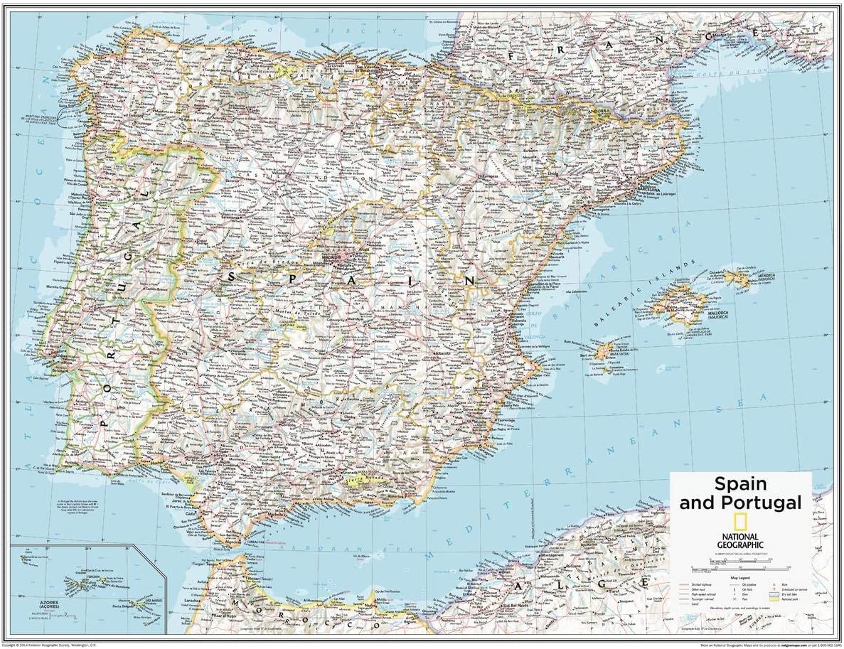 National Geographic - Mapa de pared de España y Portugal de 71,1 x 55,9 cm, papel enrollado: Amazon.es: Oficina y papelería