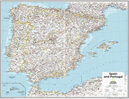 National Geographic: España y Portugal mapa de pared – 28 x 22 ...