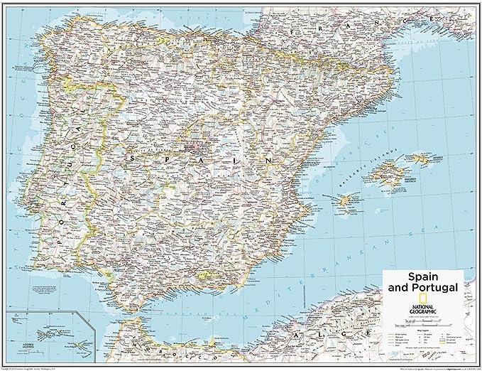National Geographic - Mapa de pared de España y Portugal de 71,1 x 55,9 cm, papel enrollado: Amazon.es: Oficina y papelería