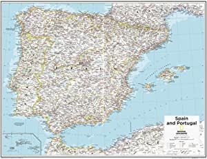 National Geographic - Mapa de pared de España y Portugal de 71,1 x ...