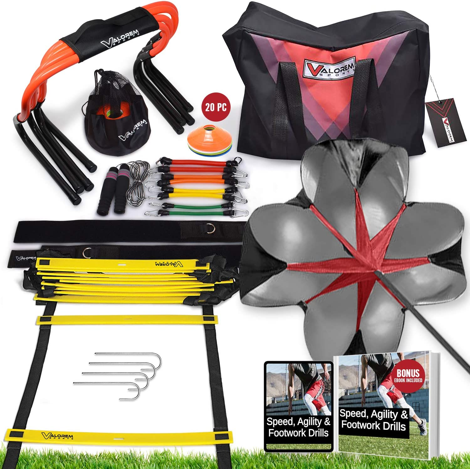 Speed & Agility Training Equipment Set - Includes 4 Agility Hurdles, 20 Disc Cones, Agility Ladder, Adjustable Leg Resistance Bands, Speed Parachute, Jumping Rope & Carry Bag - Designed For All Sports : Sports & Outdoors