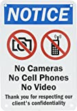 """SmartSign Aluminum Sign, Legend """"Notice: No Cameras No Cell Phones No Video"""" with Graphic, 10"""" high x 7"""" wide, Black/Blue/Red on White"""