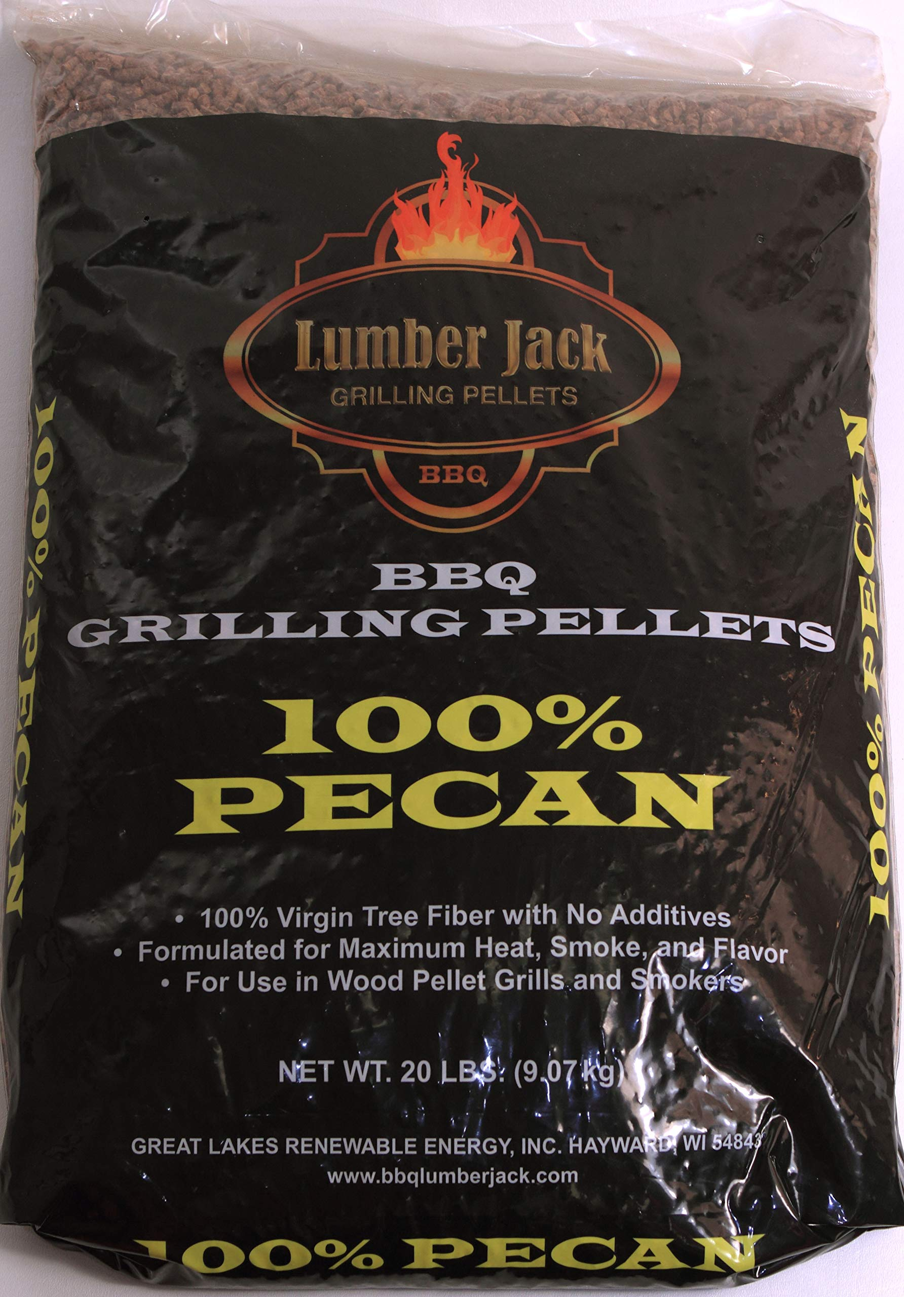 Lumber Jack 100 Percent Pecan BBQ Grilling Pellets 40 Pounds (2 ea 20 Pound Bags) by Lumber Jack