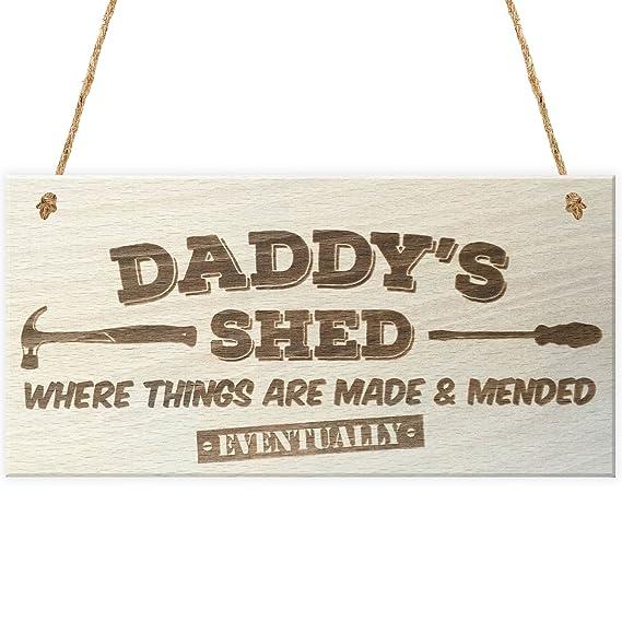 Rojo Océano Daddys Cobertizo donde las cosas están hechas & mended eventualmente - Placa para colgar Madera: Amazon.es: Hogar