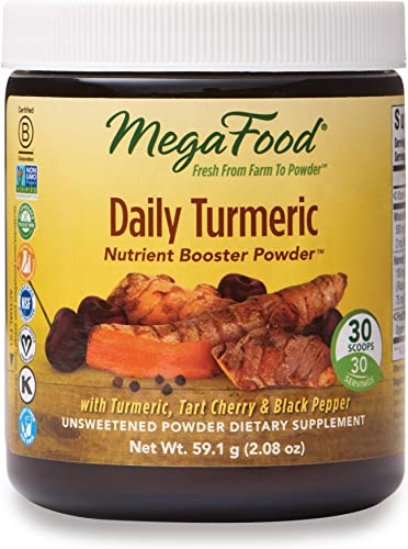 MegaFood, Daily Turmeric Nutrient Booster Powder, Post-Exercise Recovery Vegan, Unsweetened, 2.08 oz 30 servings