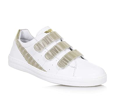 Goldener Schuh mit Schnürsenkeln, aus Leder und Stoff mit Glitzern. In jedem Detail gepflegt, Mädchen, Damen-39 Ciao Bimbi