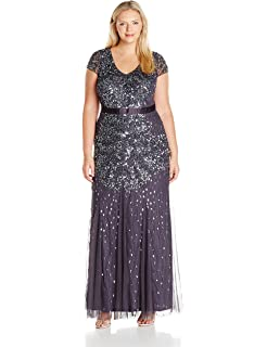 c282470d7d Adrianna Papell Women s Taffeta Gown with Beaded Bodice Plus Size at ...