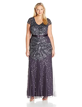 Adrianna Papell Women's Plus Size Cap Sleeve V-Neck Fully Beaded Gown at  Amazon Women's Clothing store: