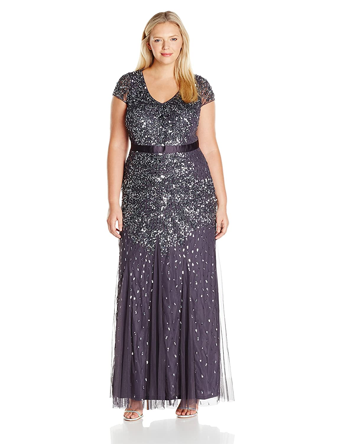 Gunmetal Adrianna Papell Women's Plus Size Cap Sleeve VNeck Fully Beaded Gown