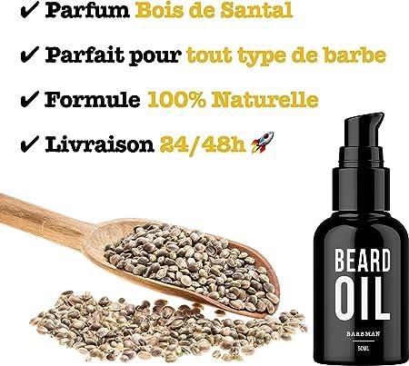 BARBMAN: Aceite para barba natural. Enriquecido con aceite de jojoba y semillas de uva para hidratar y nutrir la piel. Mantenga su barba aportándole brillo y suavidad. Regalo ideal para barbudos