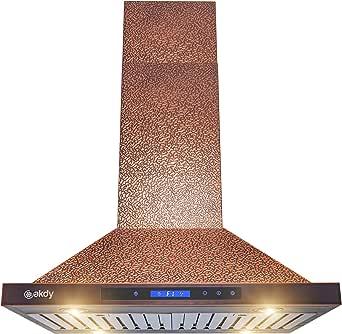 AKDY Island Mount Range Hood - Ventilador de campana de cobre en relieve para cocina - Motor silencioso profesional de 4 velocidades - Panel de control táctil - Diseño moderno - Filtros