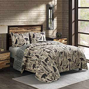 Donna Sharp Full/Queen Bedding Set - 3 Piece - Forest Weave Lodge Quilt Set with Full/Queen Quilt and Two Standard Pillow Shams - Fits Queen Size and Full Size Beds - Machine Washable
