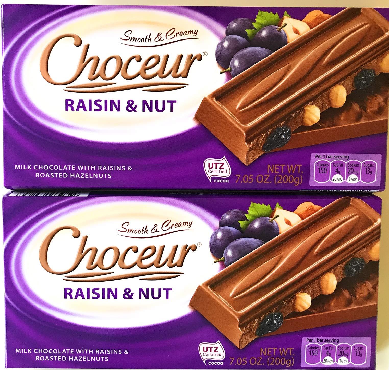 Choceur Raisin & Nut Milk Chocolate With Raisins & Roasted Hazelnuts 7.5 oz (200 g) (Pack of 2)
