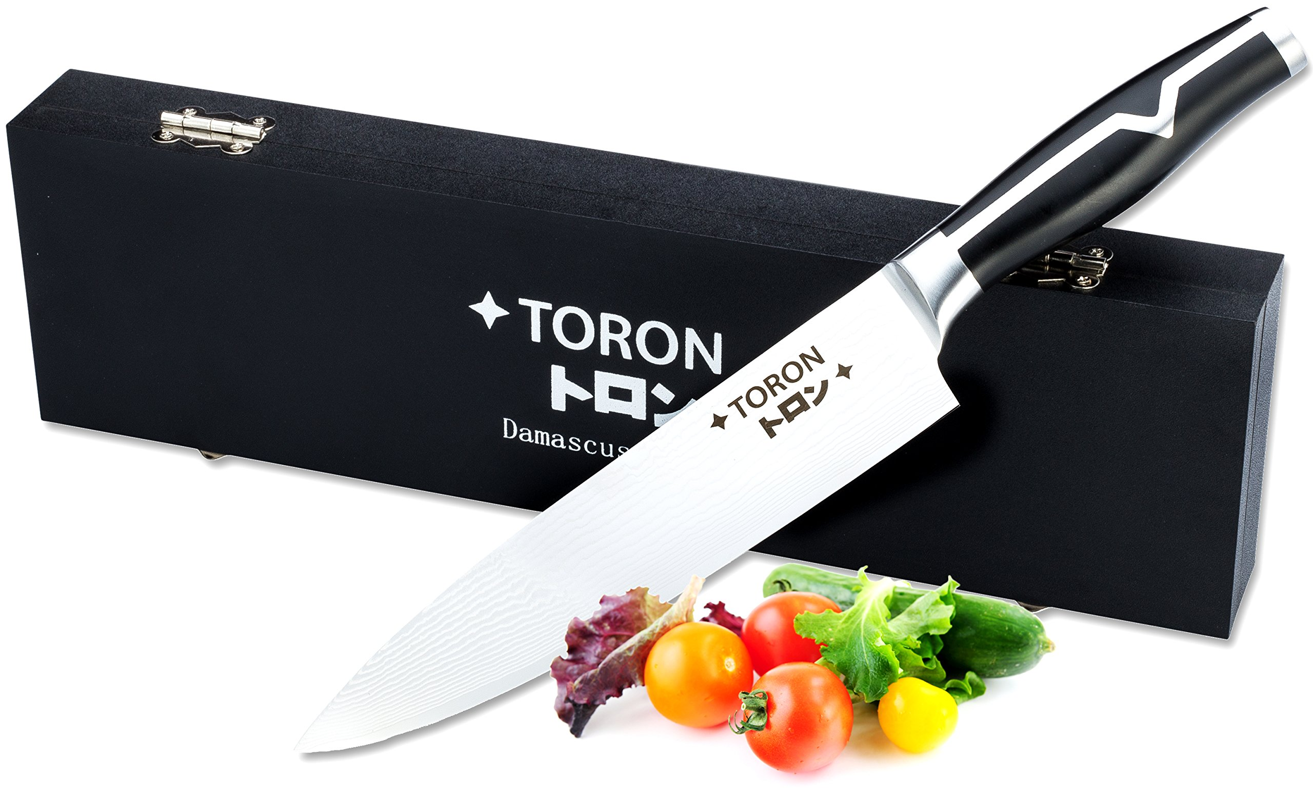 Chef Knife - 8 Inch Knife - VG10 Stainless Steel Blade 67 Layer- Japanese Chef Knife - Razor Sharp Professional Carbon Steel Knife for Chopping - Pork chops, Mincing Knife with Wood Box By Toron