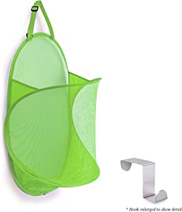 Topline Over-The-Door Mesh Hamper - Lime Green [Hook Included]