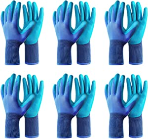 Gardening Gloves 6 Pairs Breathable Rubber Coated Garden Glove, Sensitivity Work Glove for Gardening Fishing Restoration Work,Outdoor Protective Work Glove Medium Size Fits Most (Blue)