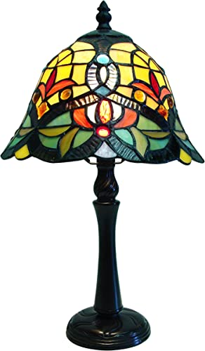 Fine Art Lighting T920 188 Glass Cuts Includes 8 Cabochons Tiffany Table Lamp, 9 x 16