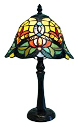 Fine Art Lighting Tiffany Table Lamp, 9 by 16-Inch, 188 Glass Cuts Includes 8 Cabochons