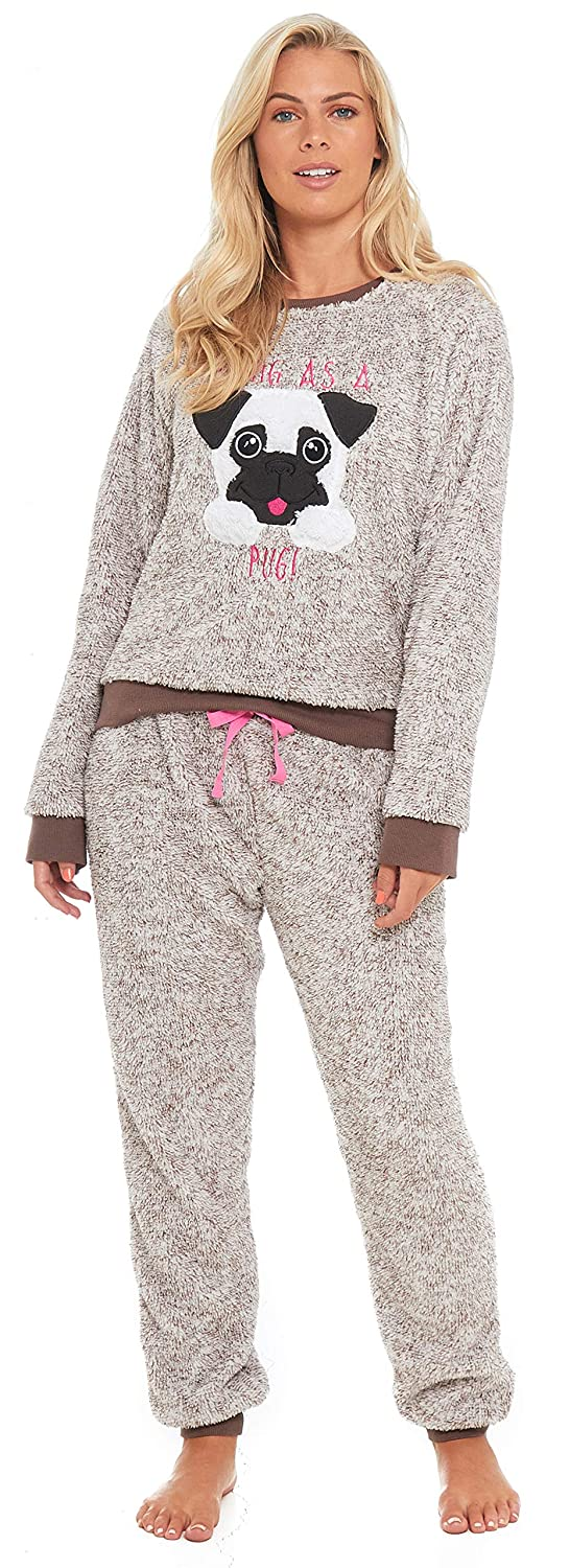 Slumber Hut® Pug Dog Llama Fleece Pyjamas Novelty Loungewear Twosie PJs Matching Family Mother Daughter - Adult and Child Sizes