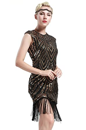 BABEYOND Damen Kleid Retro 1920s Stil Flapper Kleider voller ...