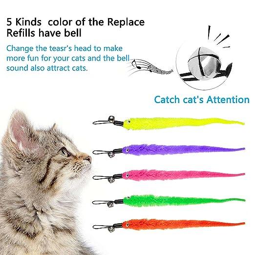 Diealles [6 in 1] Retráctil Natural de Plumas Varita Gato Juguete con 5 Gusano de Plumas para Gatos y Gatitos: Amazon.es: Productos para mascotas