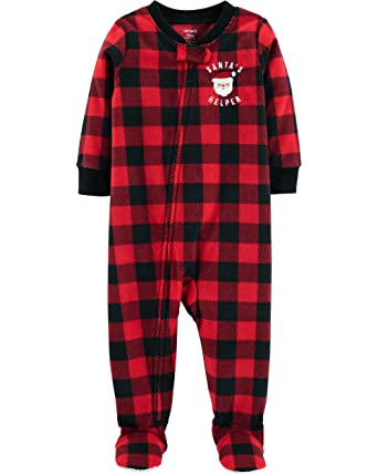563cd16086 Carter s Toddler 1-Piece PJ s Pajama Santa Buffalo Plaid Fleece  Sleeper Footie 2T-