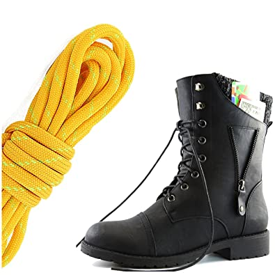Women's Military Lace Up Buckle Combat Boots Ankle High Exclusive Credit Card Pocket Tangerine Lime