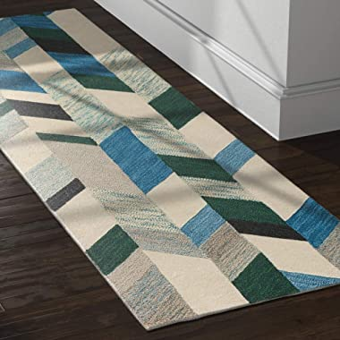 Rivet Modern Chevron Wool Runner Rug, 2' 6  x 8', Blue, Green, Ivory