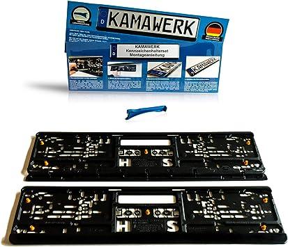 Kamawerk Kfz Kennzeichenhalter 2er Set Schwarz Nummernschildhalterung Auto 52cm Eu Kennzeichen Nummernschildhalter Lackschutz Made In Germany Auto