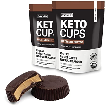 EVOLVED Chocolate Hazelnut Butter Keto Cups, 4.93-oz. Pouches (Count of 2), 14 Cups