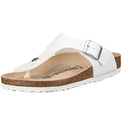 Birkenstock Gizeh White Blanc-Marron - Chaussures Tongs Homme