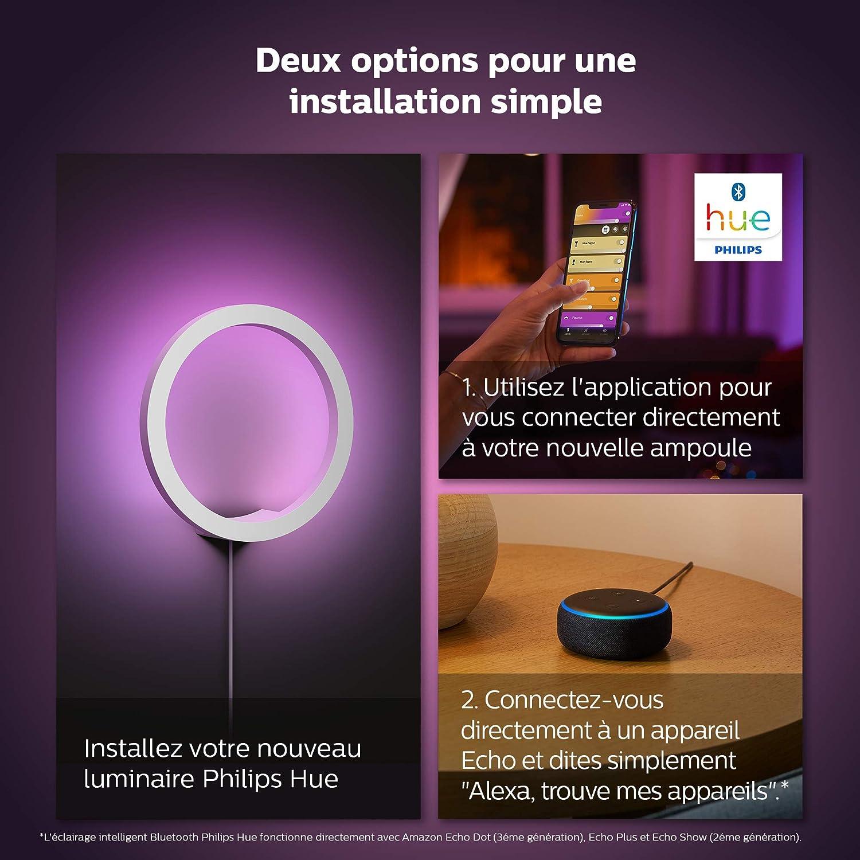 Philips Hue Blanc /& Color Ambiance Applique Sana Noir Compatible Bluetooth 20 W Fonctionne avec Alexa