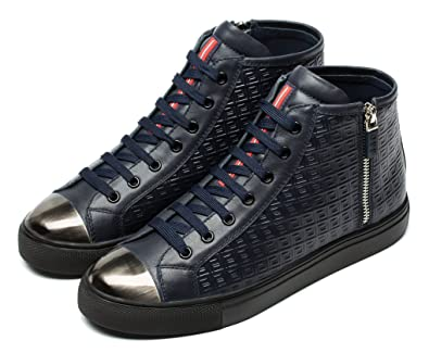 7b59d4f1e5 Amazon.com | OPP Men's Casual Leather Sneaker Lace Up Cool Zipper ...