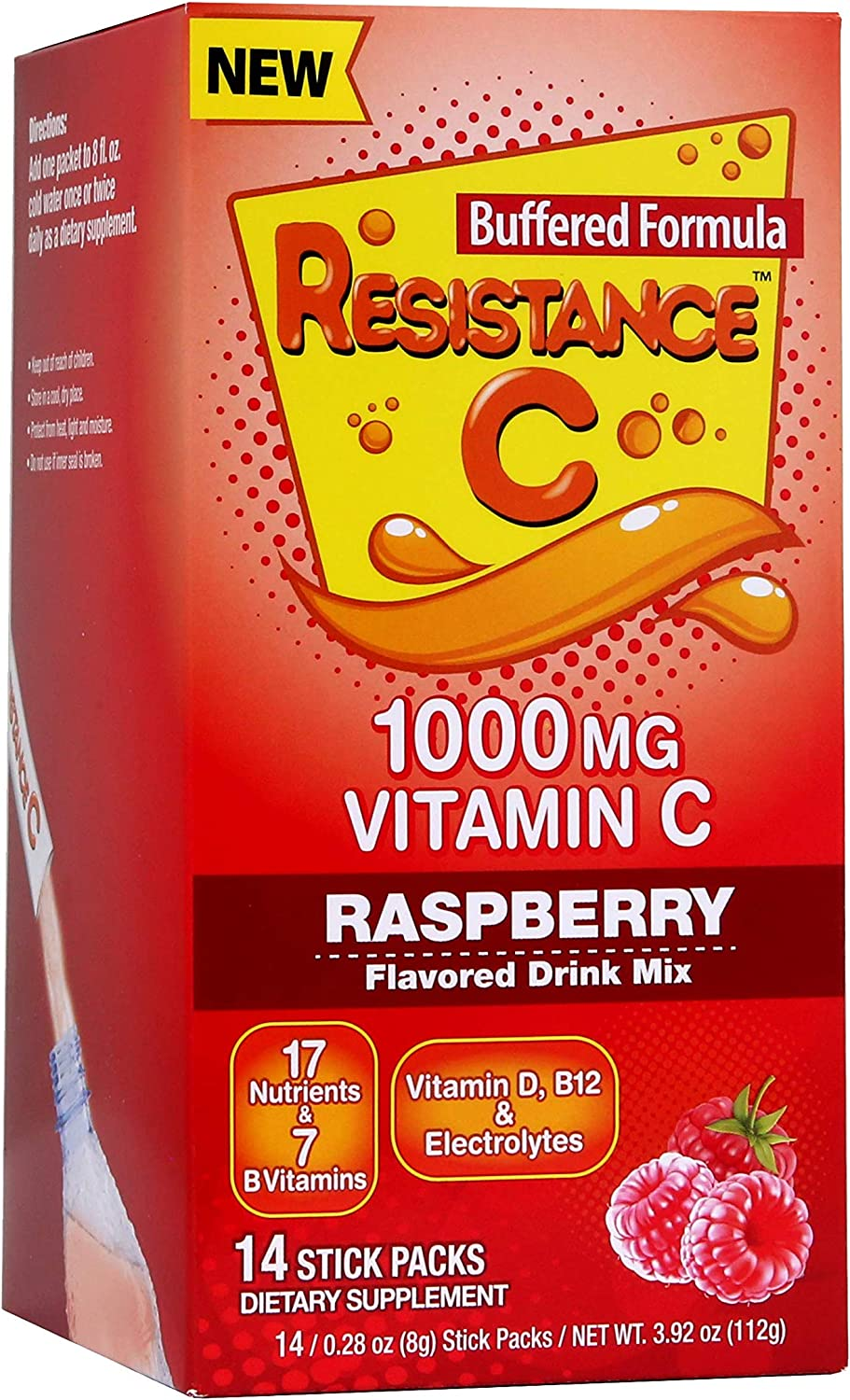 Vitamin C Stick Packs, 16 Nutrients & 7 B-Vitamins, Help Support Immune System, Powerful Antioxidants, Contains Electrolytes, Raspberry Flavor, 14 Stick Packs.