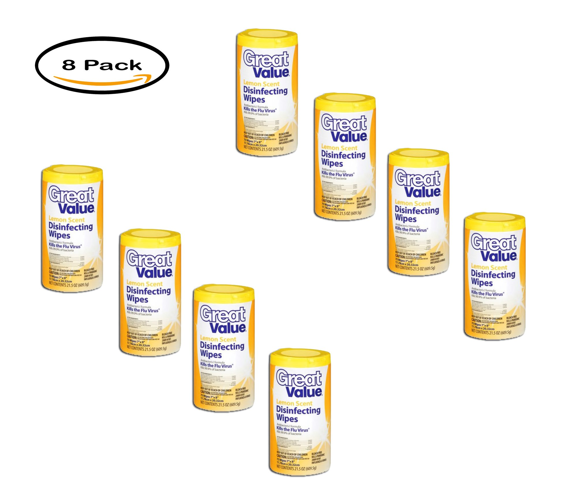 PACK OF 8 - Great Value Disinfecting Wipes, Lemon, 75 Wipes