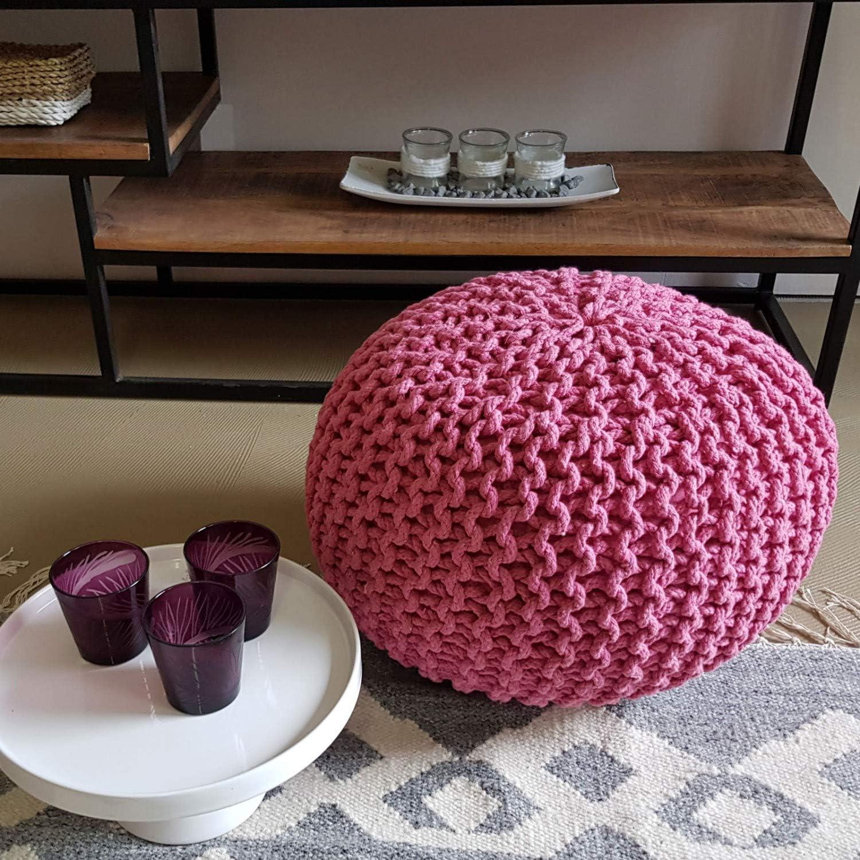 cuscino da pavimento sgabello a cuscino per sedersi altezza 30 cm sgabello rotondo diametro 45 cm Pouf effetto maglia grossa Casamia antracite.