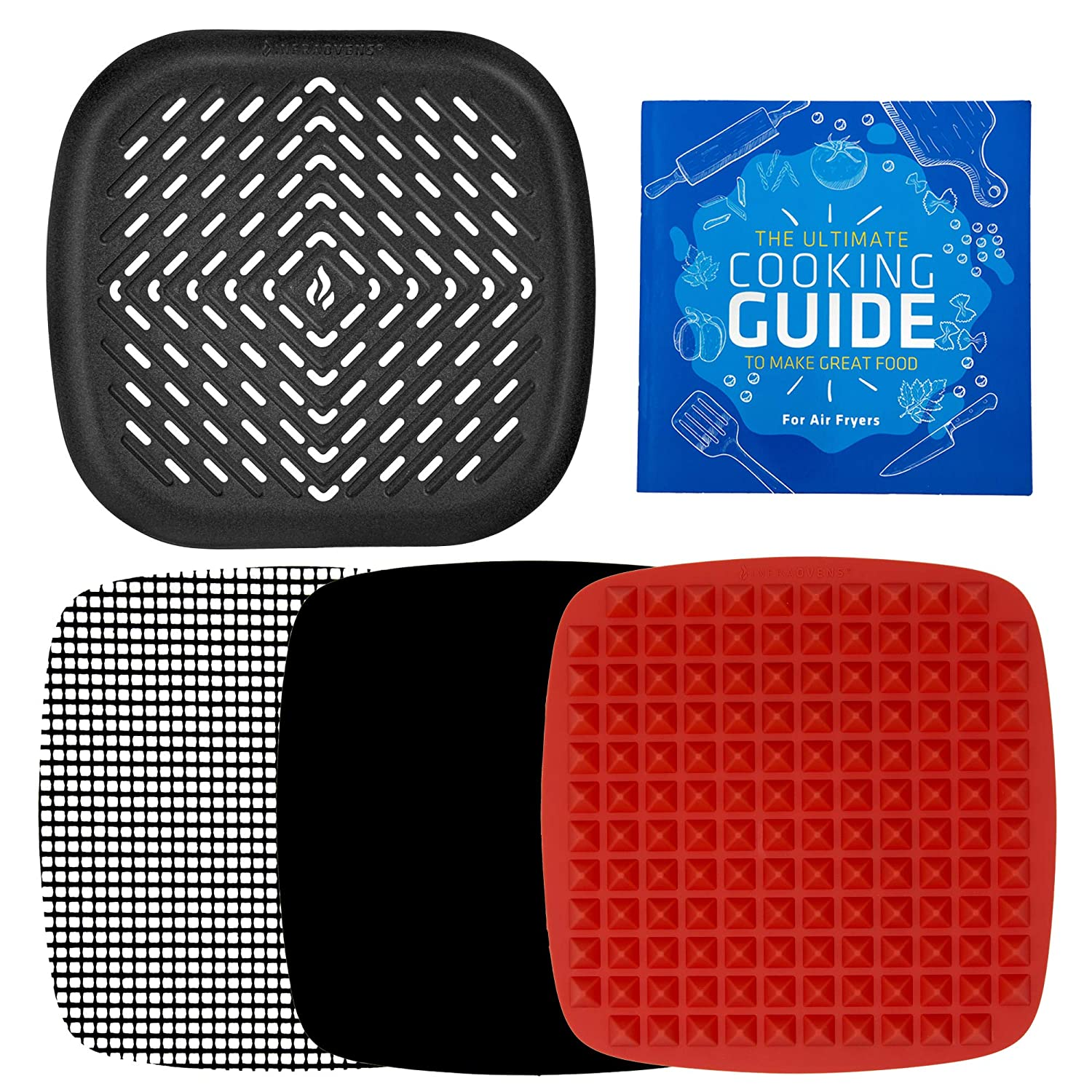 Air Fryer Grill Pan Bundle with Accessories Compatible with Philips, NuWave Brio, Chefman, Power AirFryer, Secura, Black+Decker, Emerald, Elite +More | by Infraovens Set of 4 (Large to X-Large)