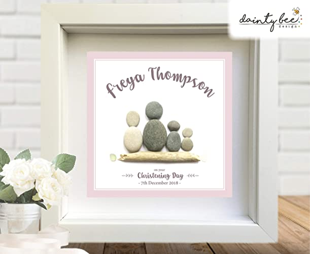 Christening Gift: Pebble Art Picture - Personalised Handmade to Order • Can also be Birthday, Friendship, Love, Wedding, Housewarming, Unique, Unusual Gift, ...