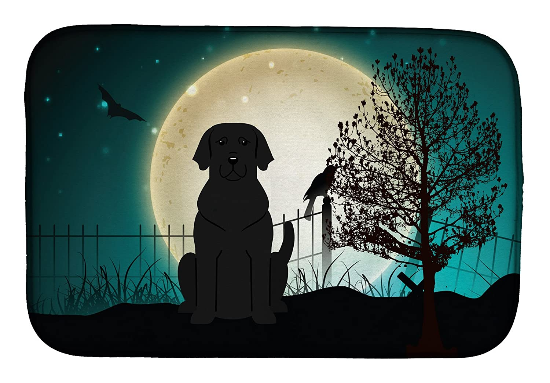 Caroline 's Treasures bb2247ddm Halloween Scary Black Labradorディッシュ乾燥マット、14 x 21、マルチカラー   B07C9BHT7N