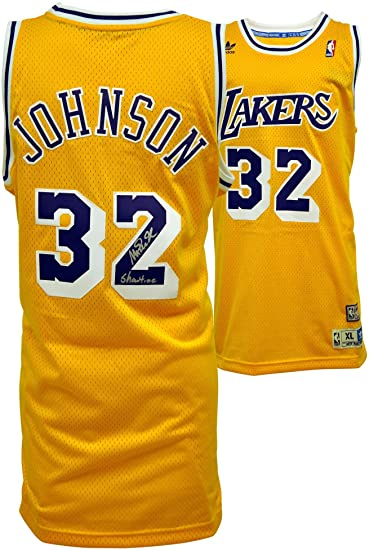 39cbb7a4f ... coupon code for adidas magic johnson los angeles lakers autographed  swingman jersey with quotshowtimequot inscription 59fad