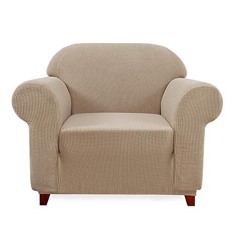 Subrtex 1-pièce Funda de sofá Extensible Funda de Silla con reposabrazos elástico sofá protección, Beige, 1 Plaza
